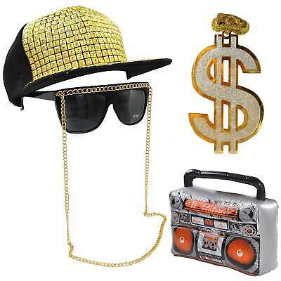 90er Jahre Kostüm Hip Hop Run DMC Rapper Radiorecorder Kette Hut Brille - 90er Jahre Rapper Kostüm
