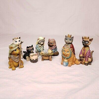 Christmas Cat Nativity Manger Scene Set 9 pc Kitten Animal Resin 2006