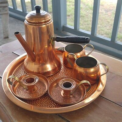 6 Superior coppercraft guild Turkish coffee pot sugar creamer tray candle holders