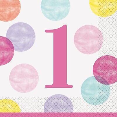 Pink Punkte Mädchen 1. Erster Geburtstag Geschirr Auswahl - Erster Geburtstag Party Dekorationen