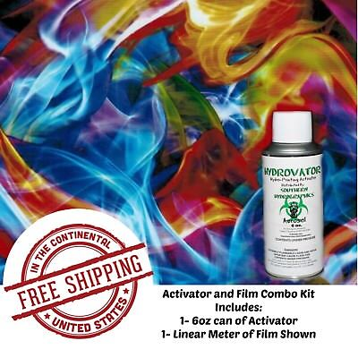 Hydro Dipping Water Transfer Hydrographic Film 6oz. Activator Rainbow Flame Kit