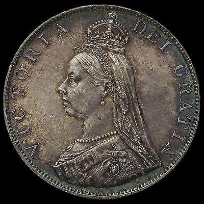 1887 Queen Victoria Jubilee Head Silver Double Florin, Roman 1 in Date