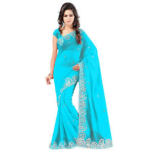 Indian Party Wear Designer Blue Faux Chiffon Embroidered Saree With Blouse available at Ebay for Rs.700