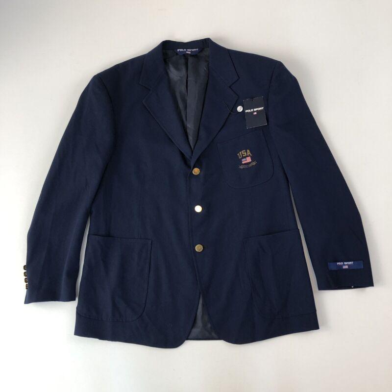 Rare NOS Vtg Polo Sport Ralph Lauren USA Flag Navy Blazer Jacket w/Gold Buttons