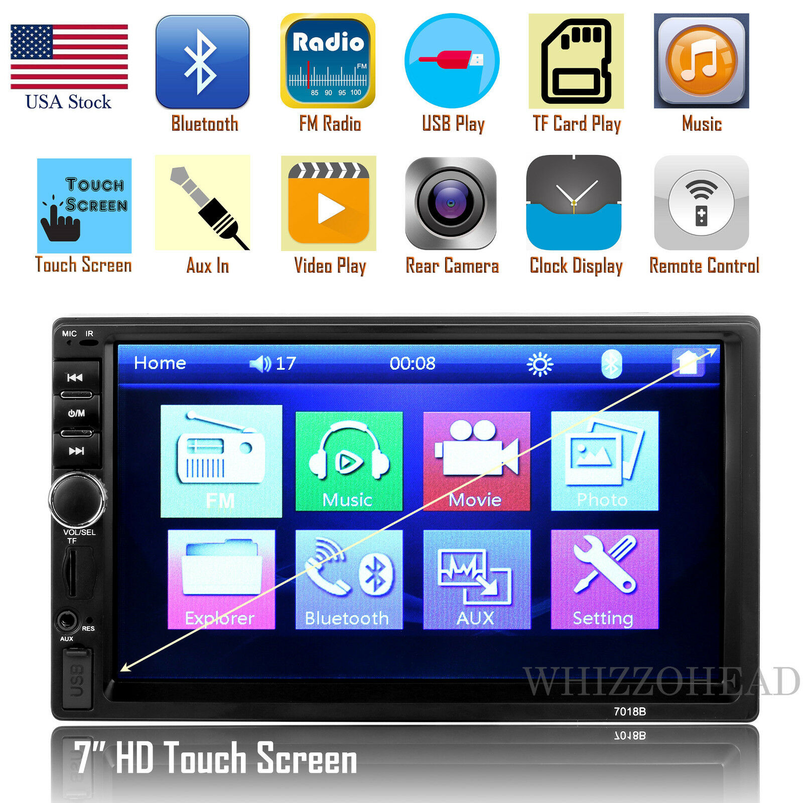 Купить Unbranded/Generic 7018B - Car Stereo Radio Bluetooth Audio Receiver Double Din 7 Touch Screen USB AUX TF