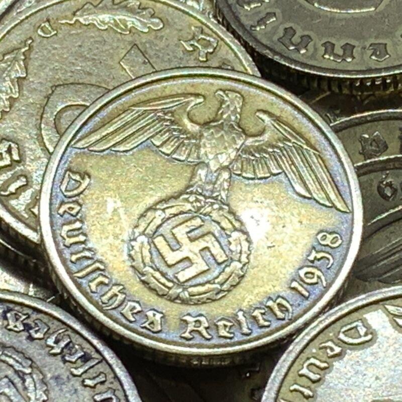 Rare WW2 Nazi 10 RP Reichspfennig Aluminum Bronze Swastika Coin