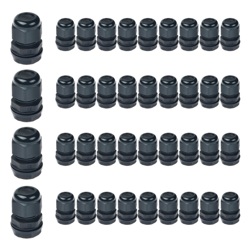 40PK Plastic Waterproof IP66 Cable Glands Joints for Electrical Junction Box