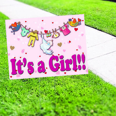 It's a Girl Baby Shower Decorations Plastic Indoor Outdoor Coroplast Yard Sign - Baby Yard Sign