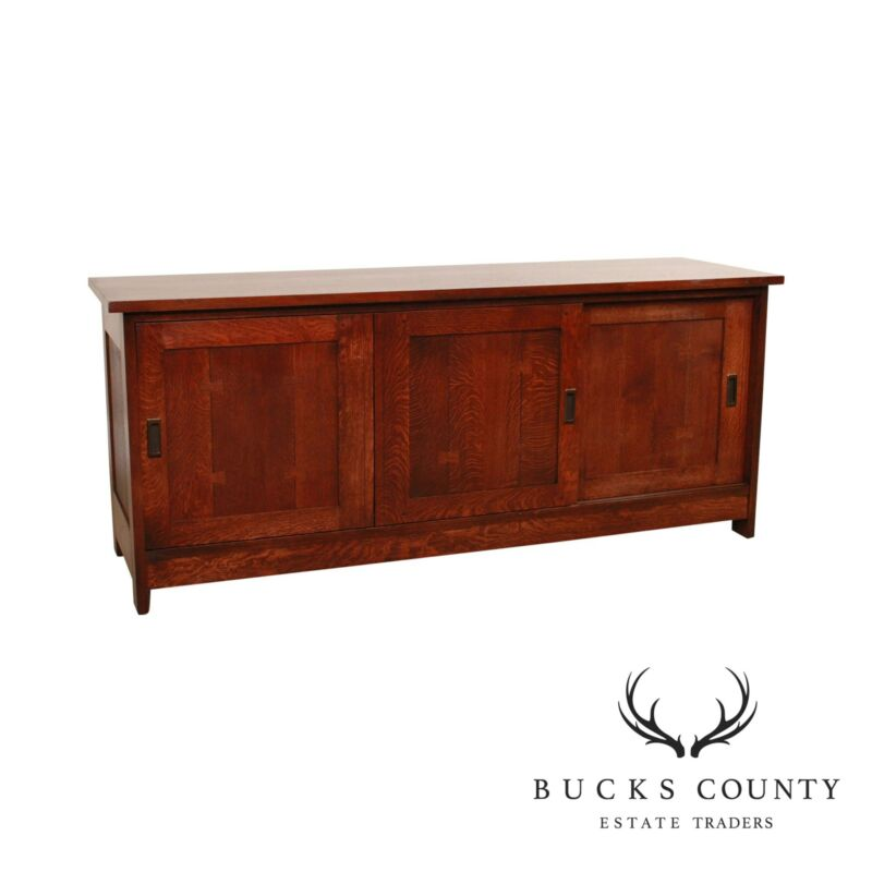 "Stickley Mission Collection Oak 68"" Sliding Door TV Console"
