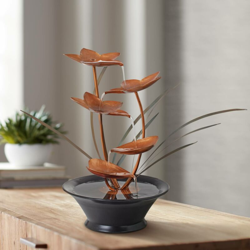 "Zen Indoor Tabletop Water Fountain 13"" Cascading Flower for Table Desk Office"