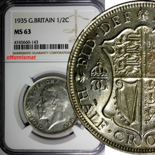Great Britain George V Silver 1935 1/2 Crown NGC MS63   KM# 835