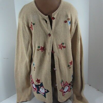 Vintage Womens UGLY CHRISTMAS SWEATER CARDIGAN Large Prize Winner  - Ugly Sweater Prizes