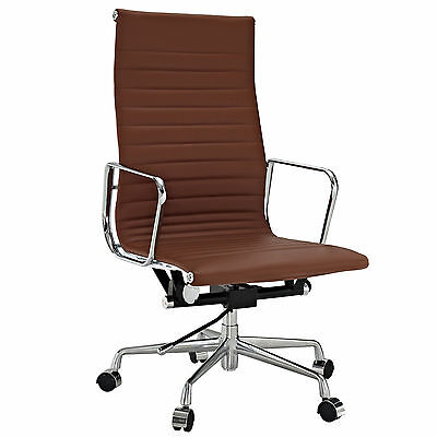 Eames Office Chair Ribbed High Back Aluminum Reproduction Leather Light Brown for sale  USA