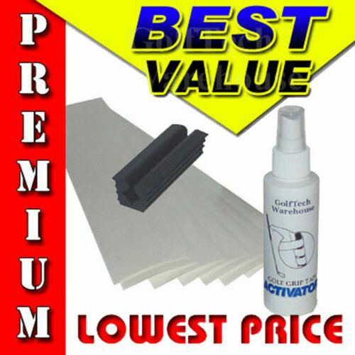 "Golf Club GRIP KIT 13 (2""x11"") Tape Strip-Spray Solvent-Vise Clamp- Instruction"