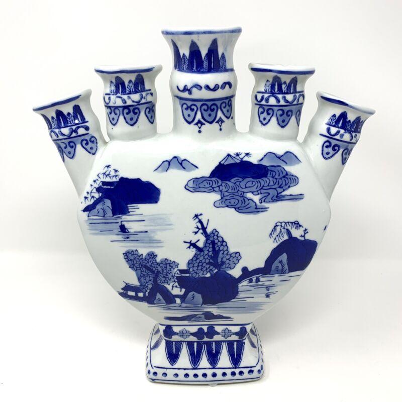Chinoiserie Tulipiere Delft Blue White Bud Vase Oriental