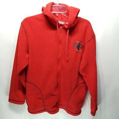 S4 Vintage Coca Cola 1886 Red Fleece Hoodie Sweatshirt Men's Sz M Full Zip