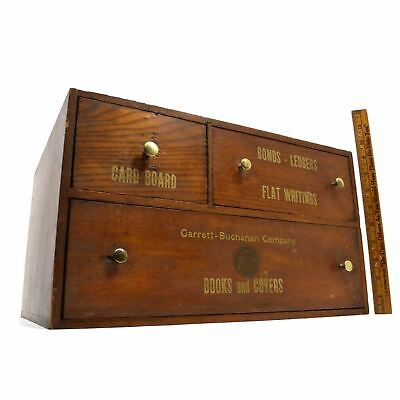 Vintage Wood Stationery Cabinet Chest Of 3 Drawers Garrett-buchanan Co. Phila.