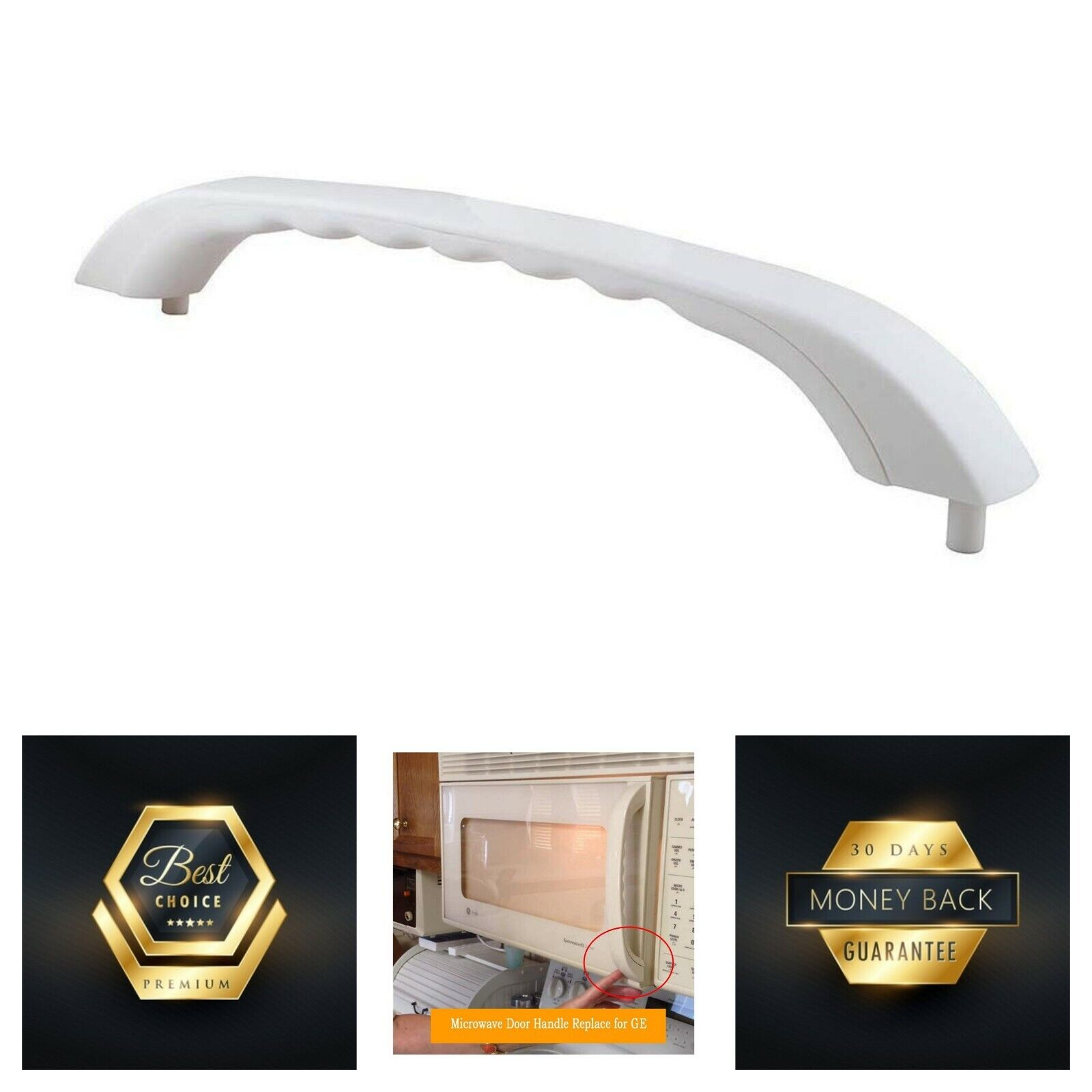 White Microwave Door Handle for General Electric GE