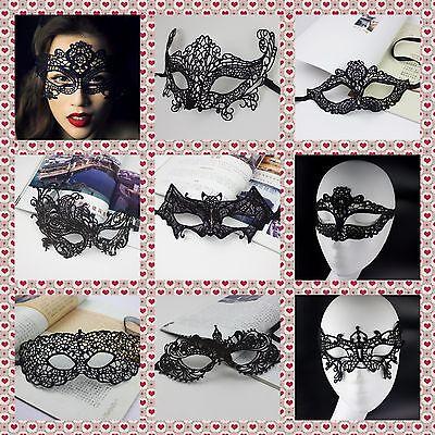 BLACK STUNNING VENETIAN MASQUERADE EYE MASK HALLOWEEN PARTY LACE UK - Venetian Halloween Masks Uk