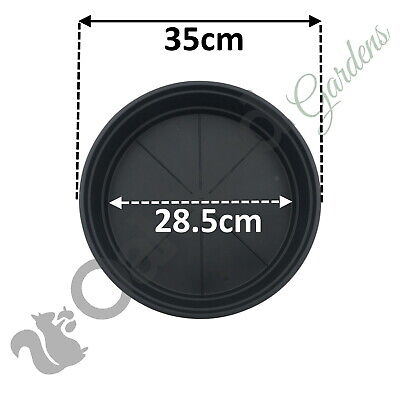 10 X 35cm Black High Saucer Deep 12 15 20 30 Litre Plant Pot Drip Watering Tray for sale  Shipping to Ireland