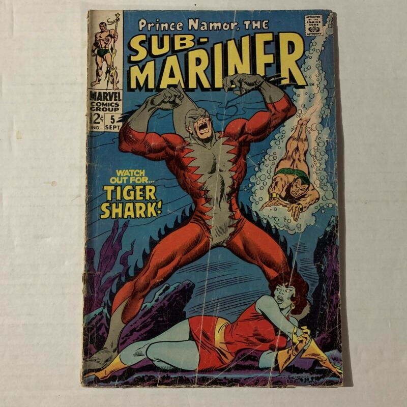 Sub Mariner #5 Silver Age First TIGER SHARK APPEARANCE 1968 Marvel Comics