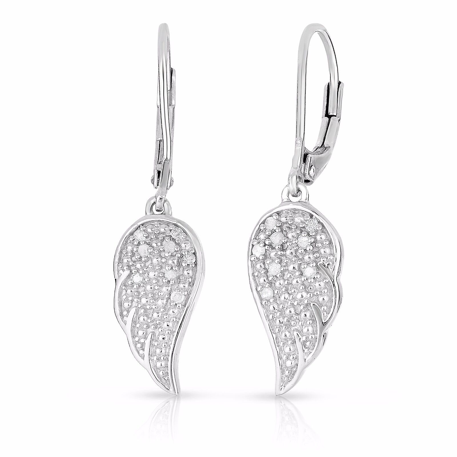 Details About 1 10 Cttw Angel Wing Earrings In Sterling Silver