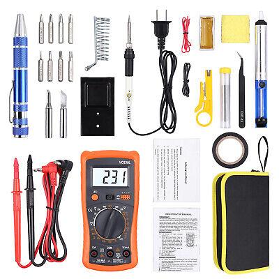 Digital Multimeter Tips Tweezer Soldering Iron Kit 60w Adjustable Temperature