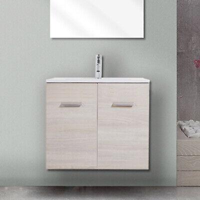 Mobile bagno salvaspazio 60cm sospeso per bagno piccolo con lavabo e ante design