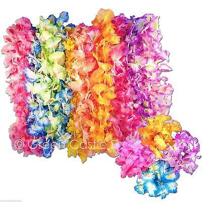 24 pc Hawaiian Leis & Bracelets Silk Flower Party Favor  Wedding Supplies (12ea) - Leis Flowers