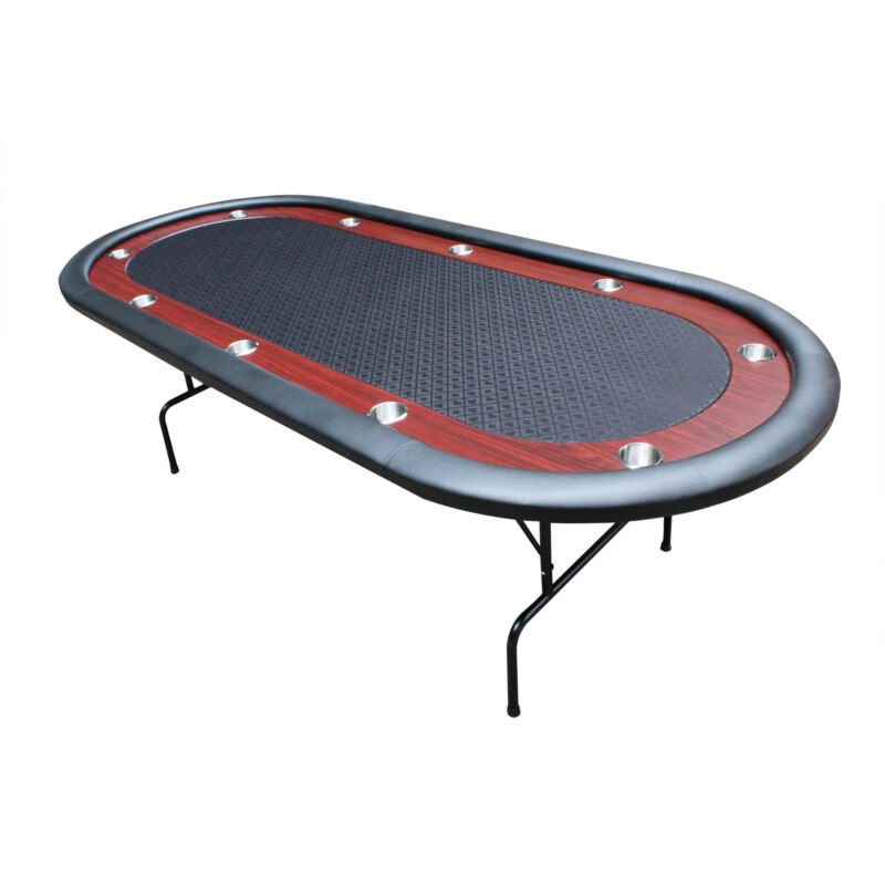 """IDS 96"""" Light Series Poker Table Black Speed Cloth Racetrack with Folding Legs"""