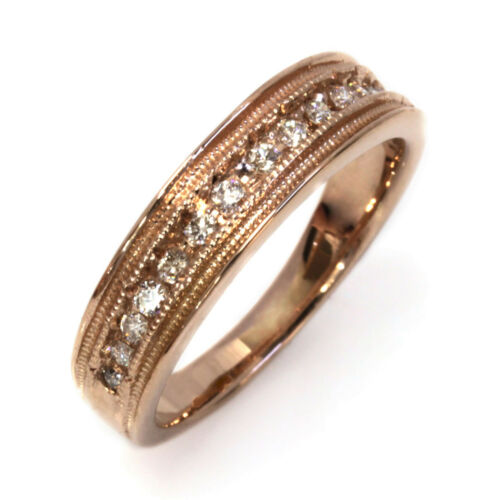 0.3 Ctw Natural Diamond Solid 14k Rose Gold Channel Unisex Wedding Ring 5.5 Mm