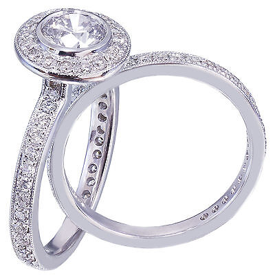 GIA H-VS2 18K White Gold Round Cut Diamond Engagement Ring and Band Bezel 1.55ct 7
