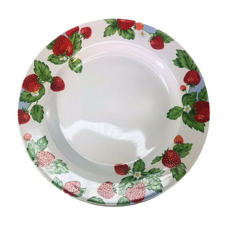 "Set Of Four Strawberry Social Dinner Plates 10 3/4"" Tienshan Stoneware"