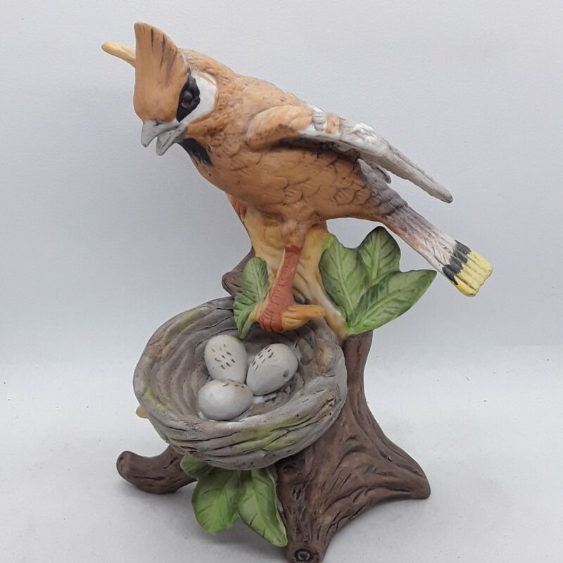 Bird Guarding Eggs Porcelain Figurine Signed By Byron