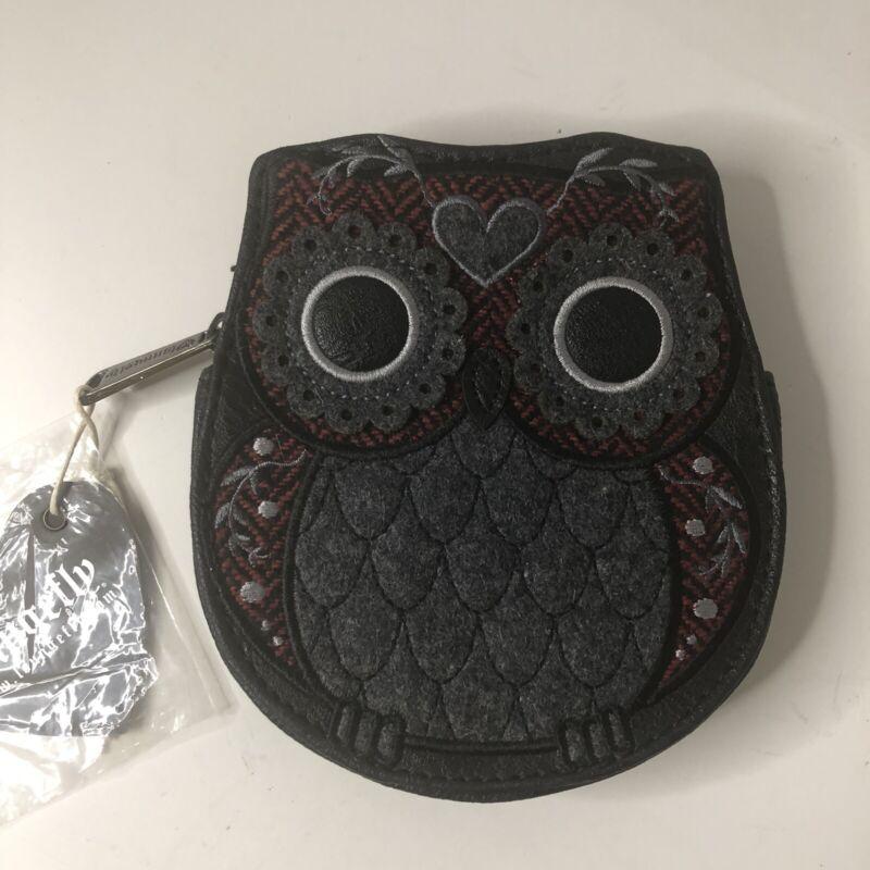 Loungefly Owl Coin Purse Wallet Gray Red 5 X 5.5 Zip Money Makeup Keys Cute!
