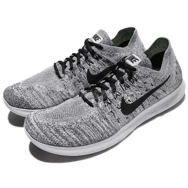 3caeacdb7bc0 Nike Free RN Run Flyknit 2017 Running Shoes White   Black