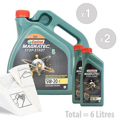 Car Engine Oil Service Kit / Pack 6 LITRES Castrol Magnatec 5W-20 E 6L