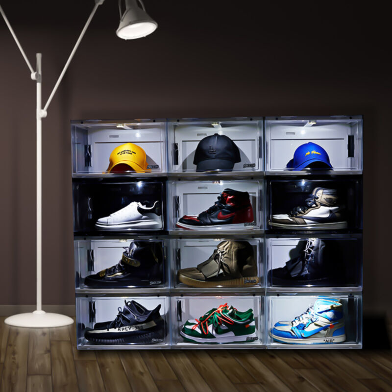 Magnetic Drop Side Shoe Box Storage Sneaker Container Case With Sensor LED Light