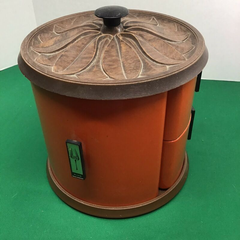 Vtg MCM Stacking Lincoln Beautyware Metal Kitchen Canister Set Lazy Susan Base