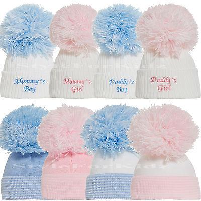 BABY BOYS GIRLS KNITTED POMPOM HATS NEWBORN PINK BLUE 0-3 MONTHS BOBBLE CAP