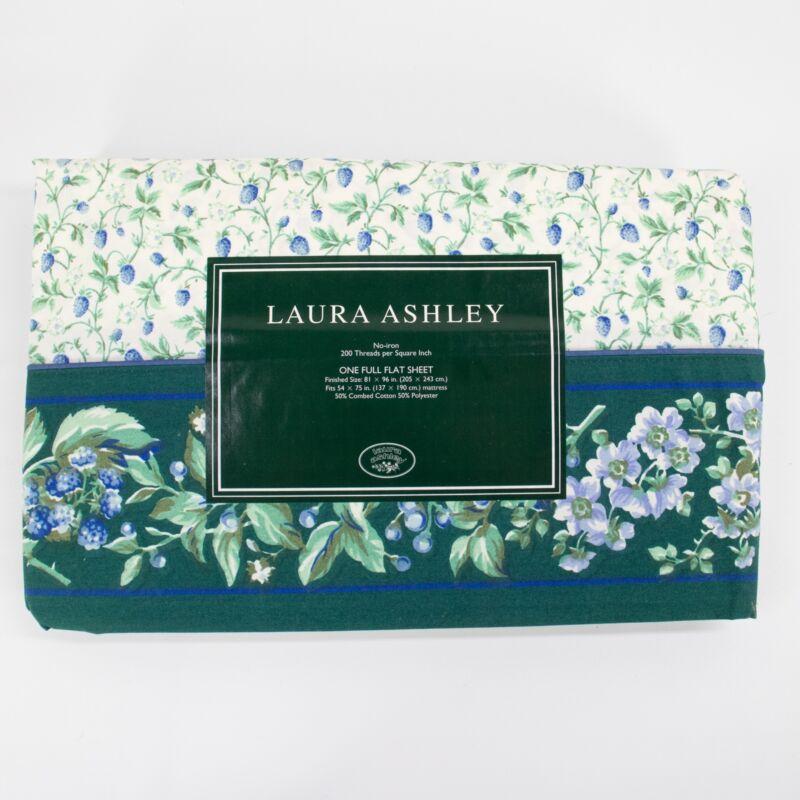 Vintage UNUSED Laura Ashley Bramble Berry Full Flat Bed Sheet Green Blue
