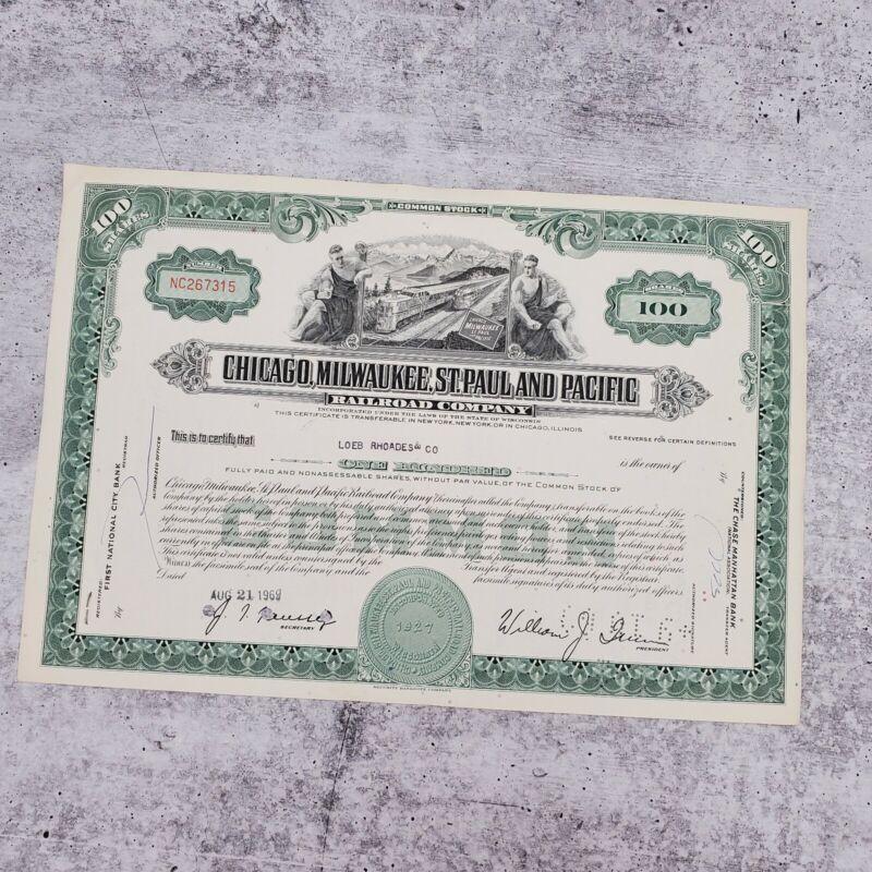 1969 Milwaukee Chicago Pacific 100 Share Railroad Stock Bond Certificate Loeb