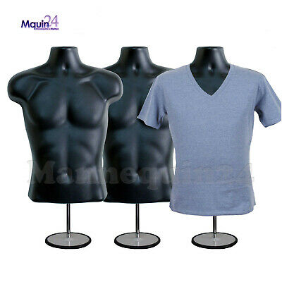 3 Pack Male Torso Mannequins - 3 Black Men Forms 3 Stands 3 Hangers