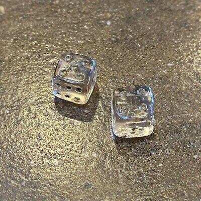 Antique Glass miniature Pair of Dice Pink Square Czech glass charms