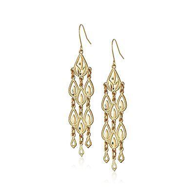 Eternity Gold Diamond-Cut Chandelier Drop Earrings in 14K Gold 14k Gold Chandeliers Earring