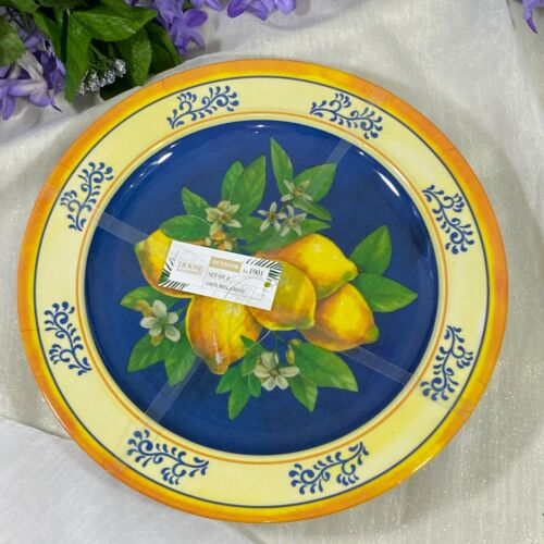 "House & Garden Tuscan Lemons Blossom Melamine Dinner Plates 11"" Set of 4"
