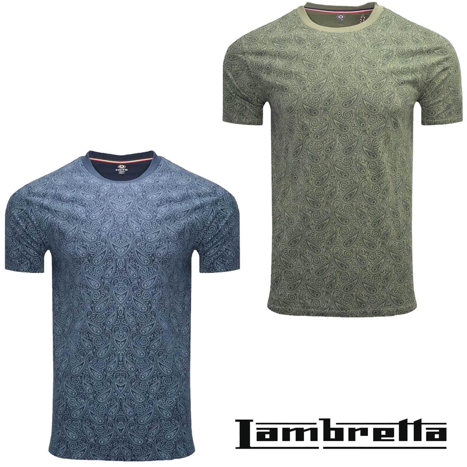 Lambretta Retro T-Shirts Print Scooter Short Sleeve MOD Mens Cotton UK S-4XL