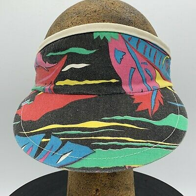 Vintage 80's Style Colorful Jungle Print  High Crown Elastic Fit Visor High Cap Print