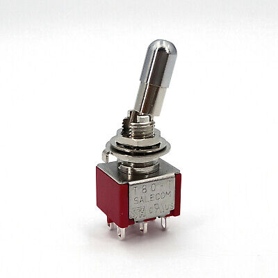 Sh T8011-lkb Round Top Locking Lever 6pin On-on Dpdt Panel Mini Toggle Switch