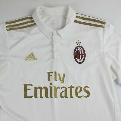 AC Milan Adidas 2016/2017 Away Jersey White Gold Serie A 1899 Large L Soccer